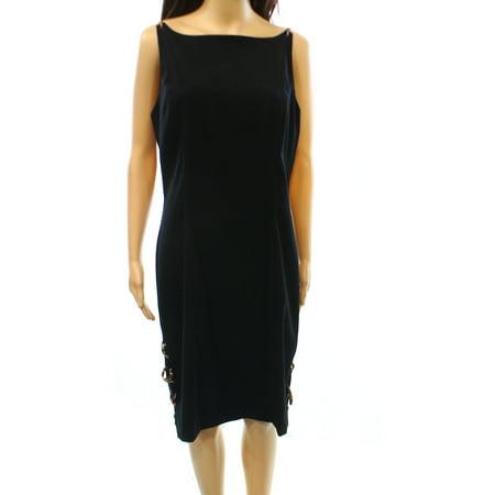 Cdc New Black Womens Size 12 Lace Up Leopard Print Sheath Dress