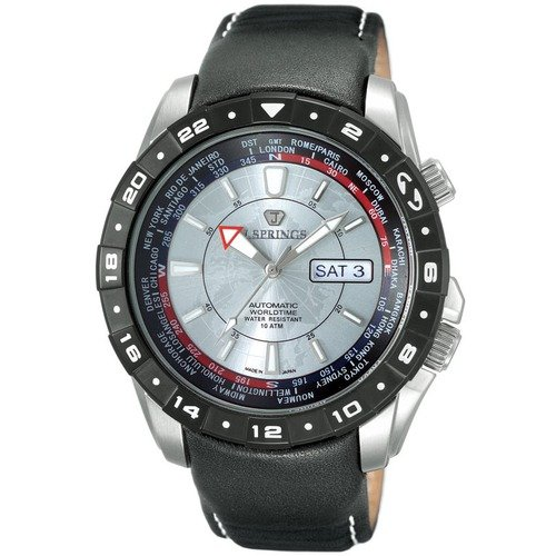 J Springs Automatic Travel Men's Watch with Black Leather Band