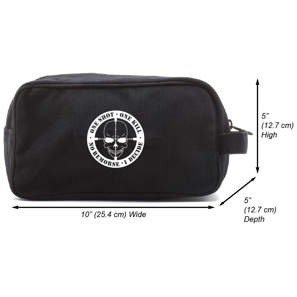 One Shot One Kill No Remorse Canvas Shower Shave Kit Travel Toiletry Bag Case