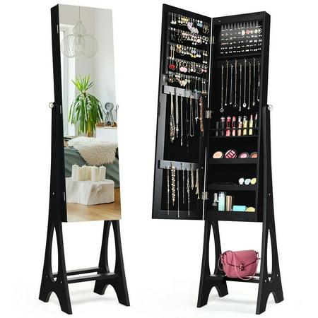 Costway LED Jewelry Cabinet Armoire Organizer Mirrored Standing w/ Bevel Edge Mirror Mirror Jewelry Organizer