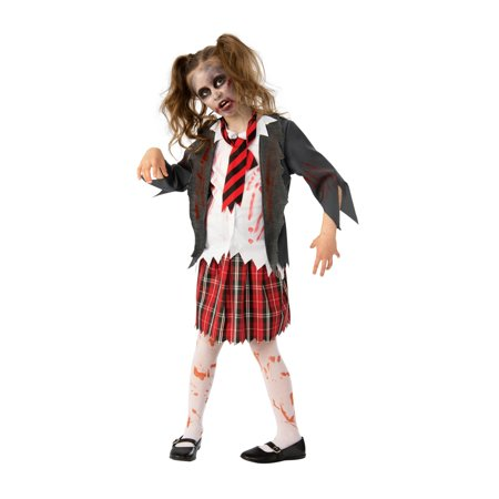 Girls Zombie School Halloween Costume - Simple Zombie Makeup Halloween