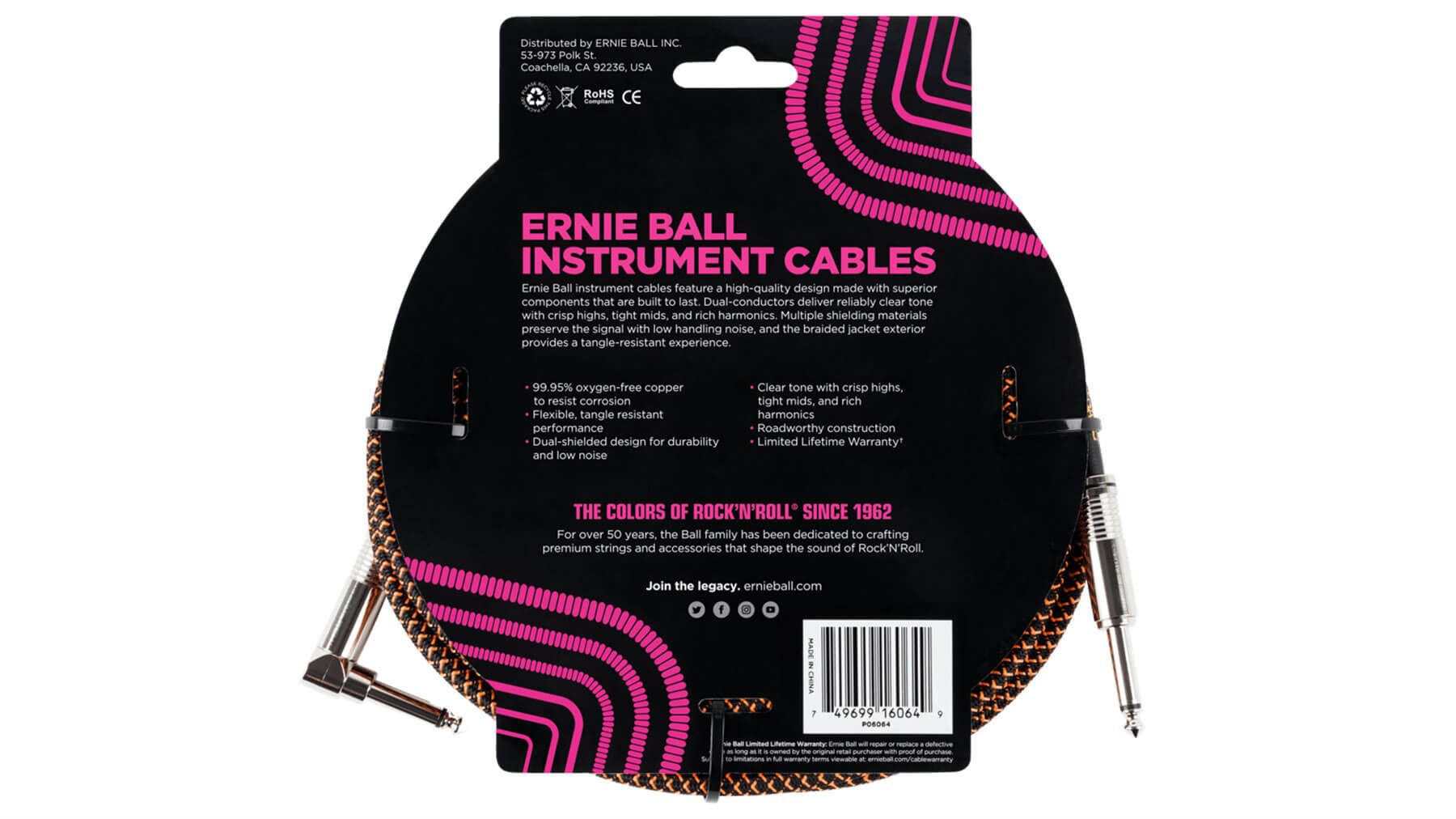 Ernie Ball 6064 Black Orange 25/' BRAIDED STRAIGHT ANGLE INSTRUMENT CABLE