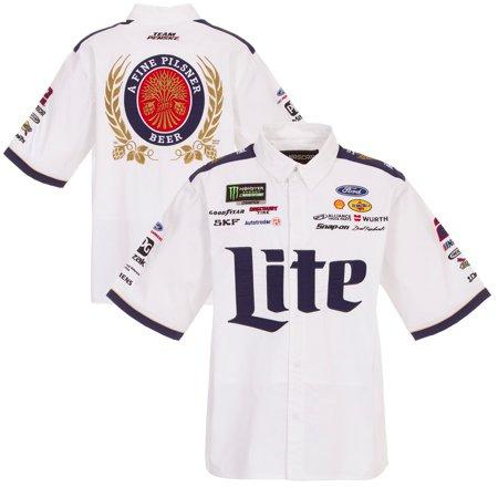 77b01d40 Brad Keselowski JH Design Miller Lite Official Pit Shirt - White/Navy -  Walmart.com