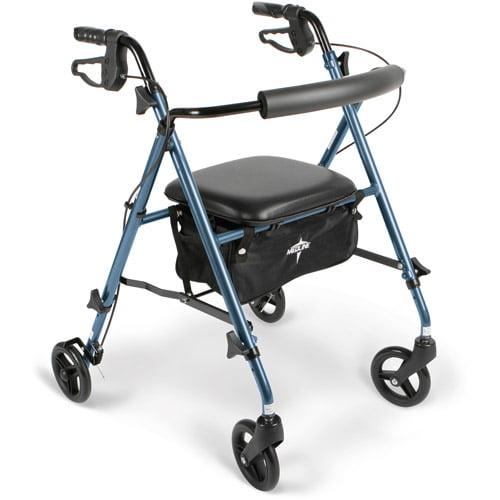 Medline Ultra Lightweight Aluminum Rollator Walker, Smoky Blue