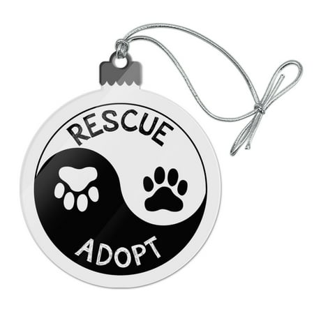 Christmas Tree Prints (Rescue Adopt Yin Yang Paw Prints Dogs Cats Acrylic Christmas Tree Holiday Ornament)