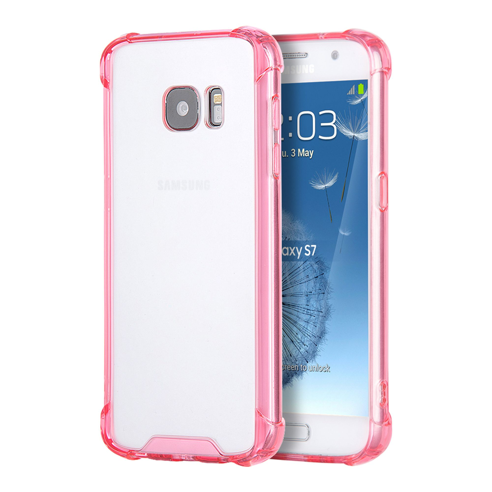 Insten Rubber TPU Case Cover For Samsung Galaxy S7 - Clear/Hot Pink