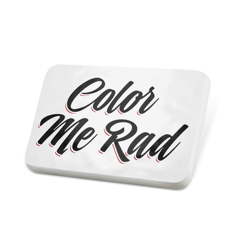 Porcelein Pin Vintage Lettering Color Me Rad Lapel Badge – NEONBLOND