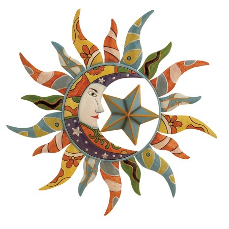 Decmode Modern 25 Inch Red and Green Metal Sun Wall Decor ()