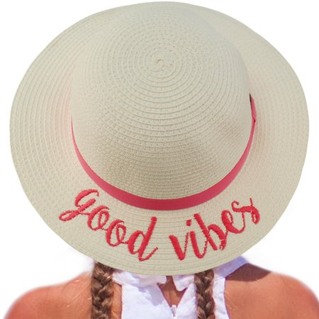 C.C Girls Kids Wording Sayings Summer Beach Pool Floppy Dress Sun Adjustable Hat ()