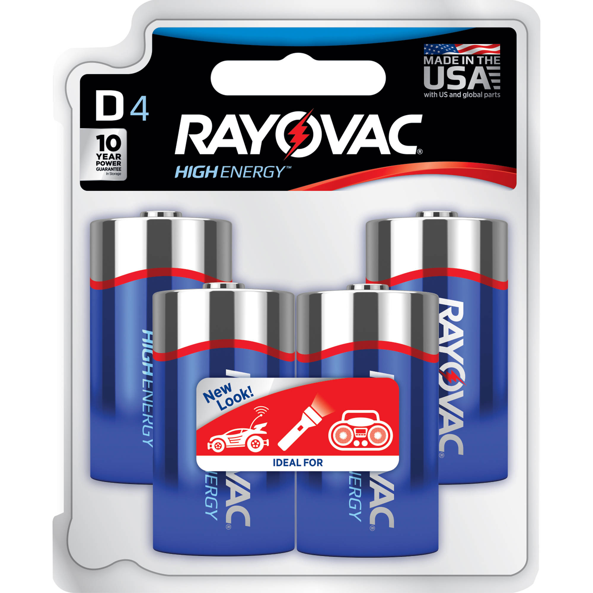 Rayovac Alkaline D Batteries, 4-pack