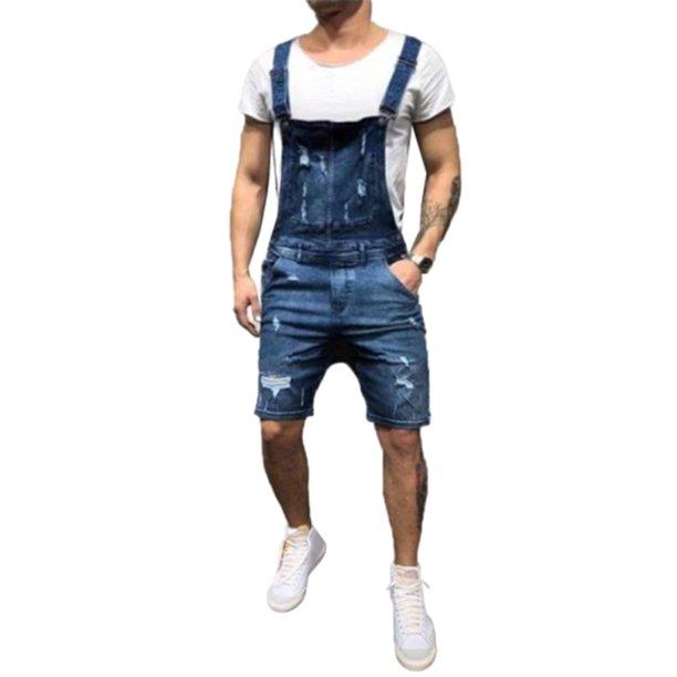 Lovaru - Mens Ripped Denim Short Overalls Jeans - Walmart.com - Walmart.com