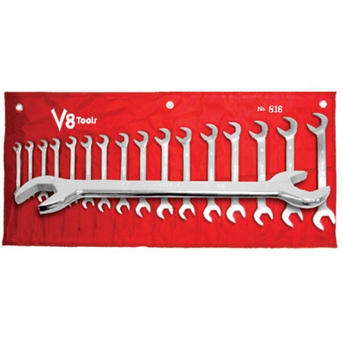 V8 Tools 816 Angle Head Wrench Set, 16 Piece, 8Mm-23Mm, 30 And 60 Degree Heads, Fully Polished, In Canvas Pouch