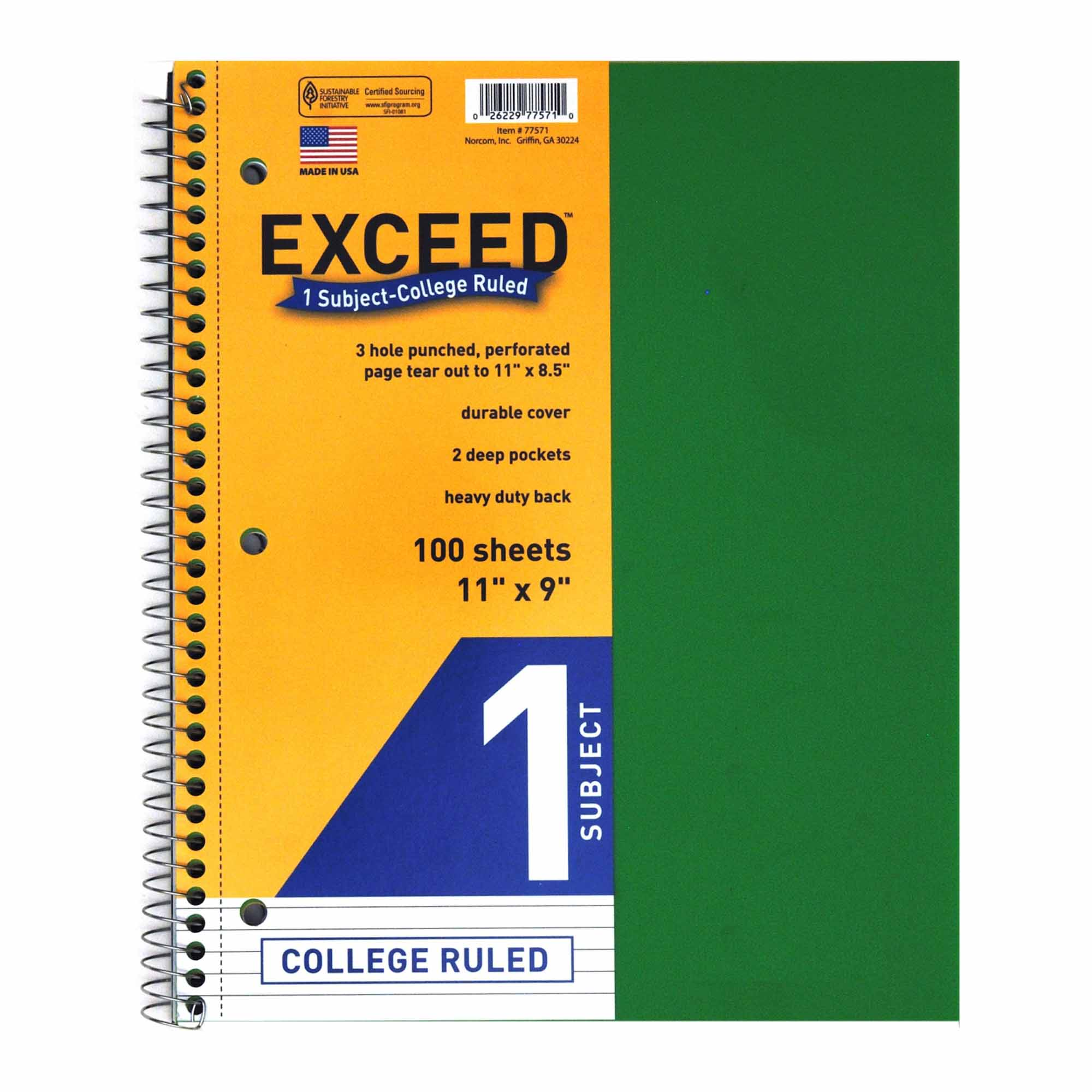 """Exceed 11"""" x 8.5"""" College Ruled 1-Subject 2-Pocket Notebook, 100pk, Poly Cover"""