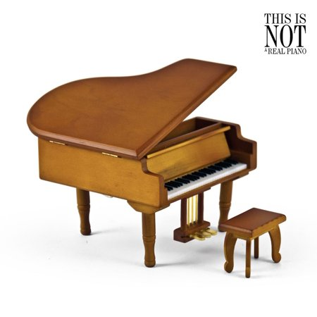 Incredible Wood Tone Miniature Replica Of A Baby Grand Piano With Bench, Music Selection - American DreamThe -