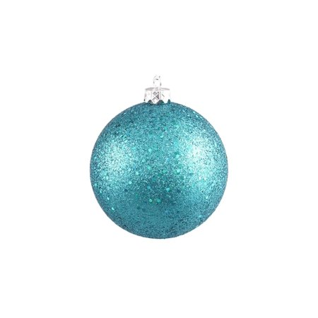 Turquoise Blue Holographic Glitter Shatterproof Christmas Ball Ornament 4