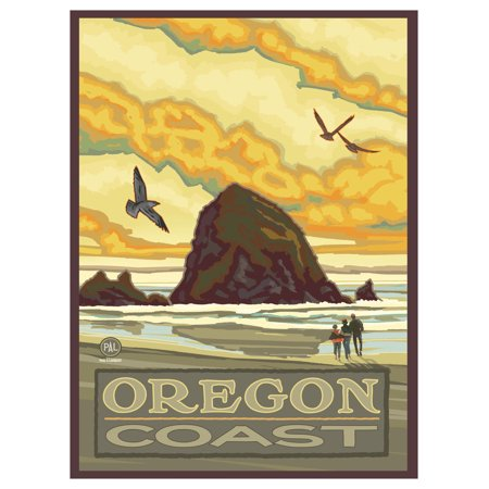 "Haystack Rock Oregon Coast Travel Art Print Poster by Paul A. Lanquist (9"" x 12"")"