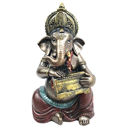 Celebration of Life and Arts Lord Ganesha Playing Harmonium Hindu Elephant God Deity Figurine Eastern Enlightenment Collectible - Hindu Deities