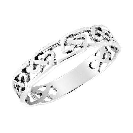923a641f38 Intricate Band of Celtic Knots Sterling Silver Ring-6 - Walmart.com