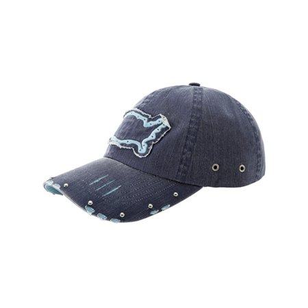 Navy Blue Washed Cotton Twill Baseball Cap Low Profile w/ USA Patch ()