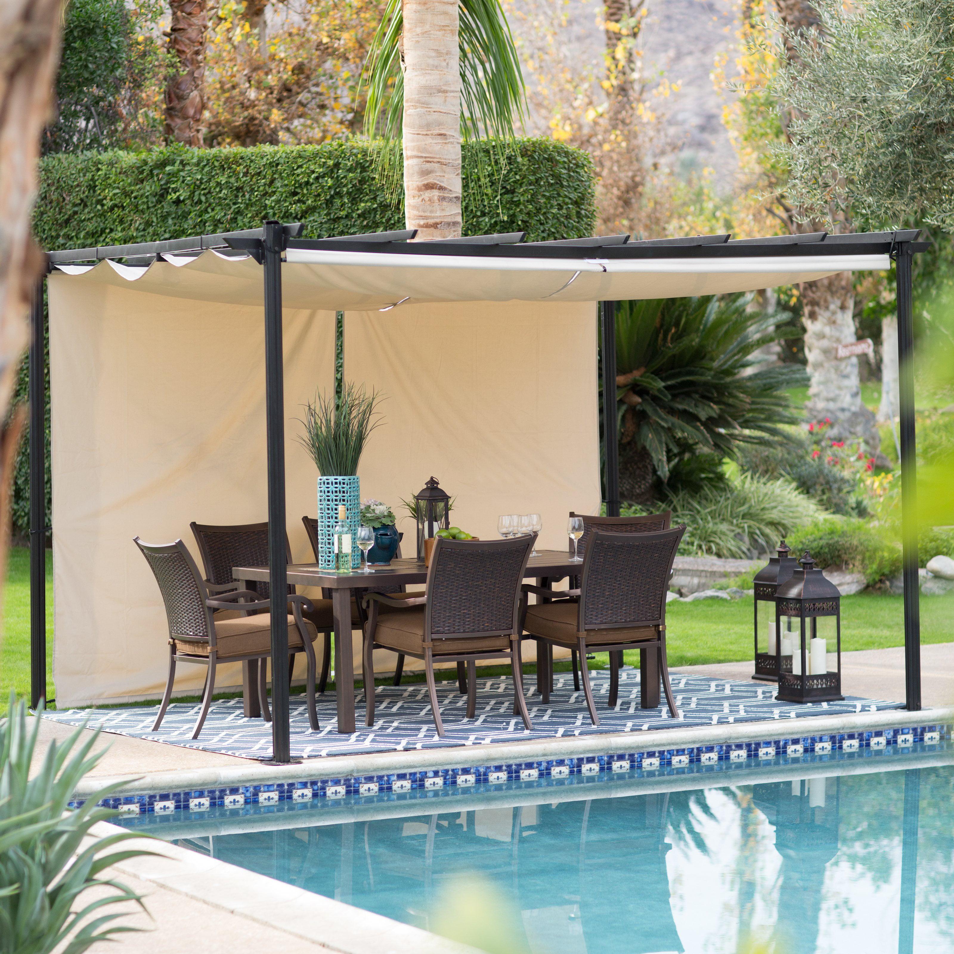 belham living steel outdoor pergola gazebo with retractable canopy shades walmartcom