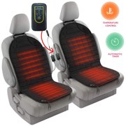 Zento Deals 2pc. Black Heated Car Seat Cushion with 1 Integrated Plug Adjustable Temperature Heating Pad Pain Reliever 12V