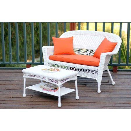 2-Piece Aurora White Resin Wicker Patio Loveseat and Coffee Table Furniture Set - Orange Cushion