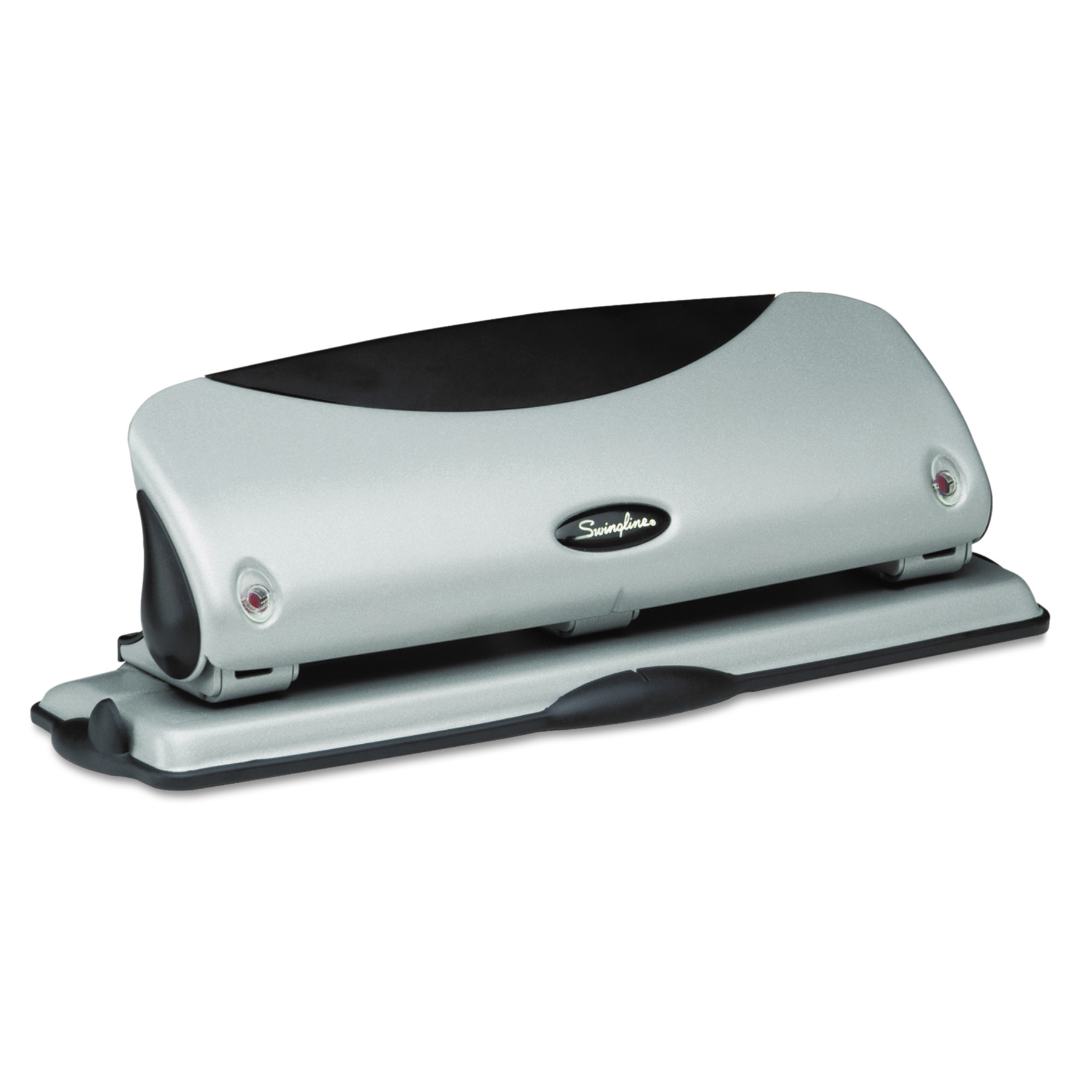 "Swingline 12-Sheet Easy View Desktop Three-Hole Punch, 9/32"" Holes, Black/Silver"