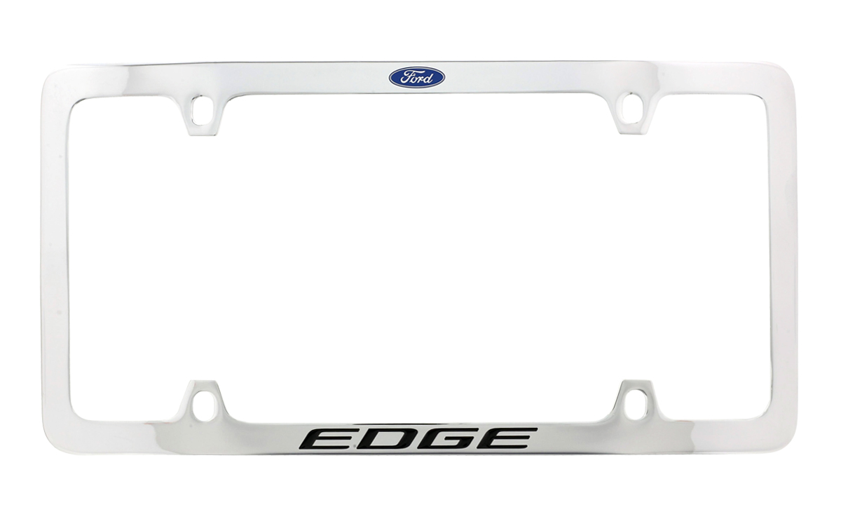 FORD FOCUS Chrome Plated Brass License Plate Frame with 2 Black Caps AUTHENTIC