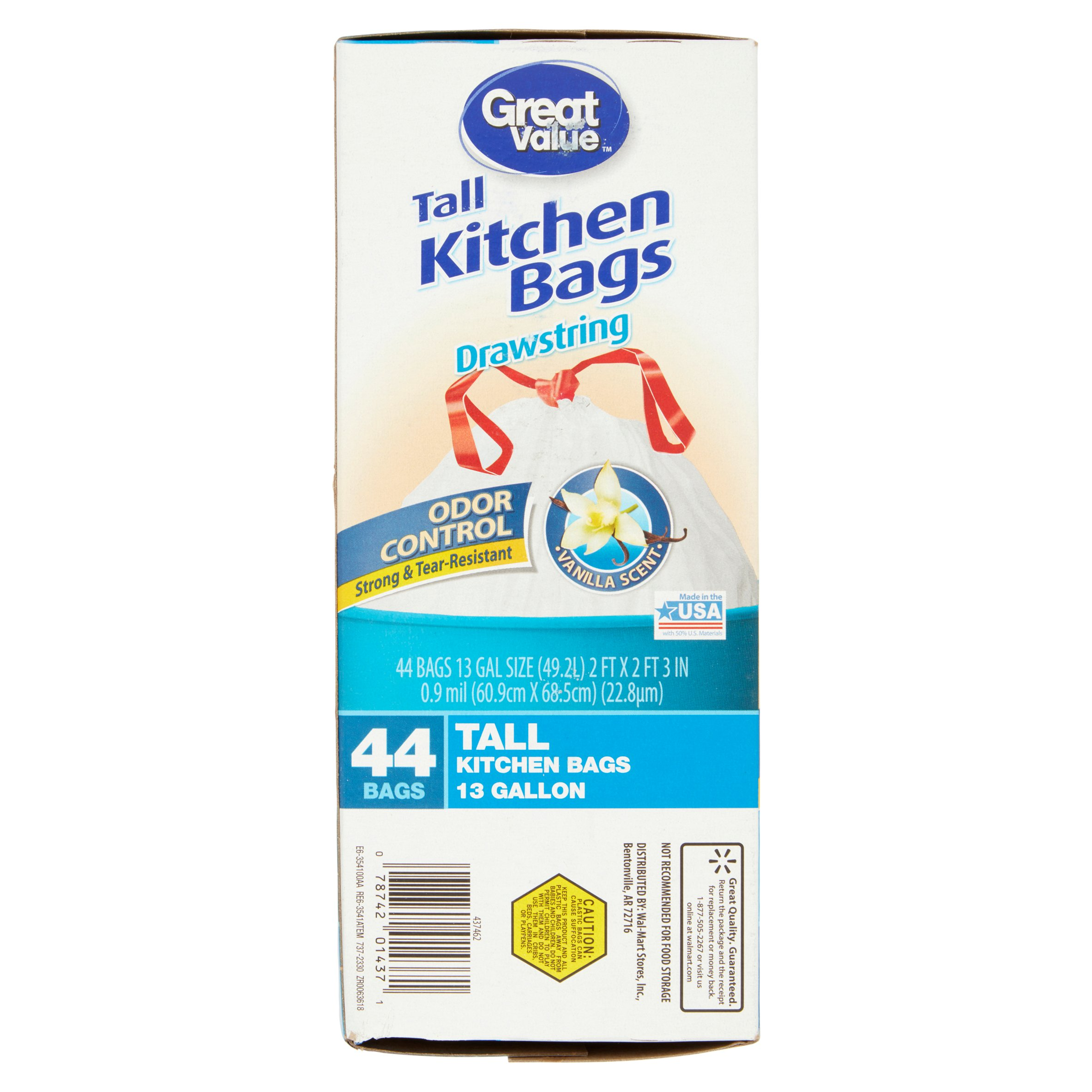 Great Value Vanilla Scent Drawstring Tall Kitchen Bags, 44 count ...