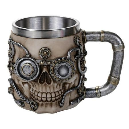 Steampunk Gear Head Skull Mug Gothic Tankard 11oz Beer Mug Drinking Vessel