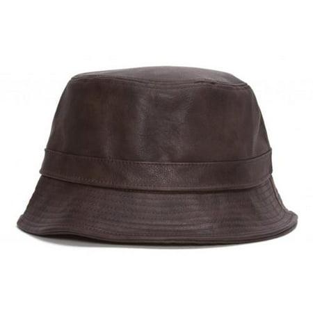 TopHeadwear Vegan Leather Bucket Hat - Brown - Walmart.com c1ec0244d39