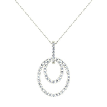 0.68 ct Entwined Circles Dangling Diamond Pendant Necklace 14K White Gold Without Chain (G,VS1) Signature Rare Quality