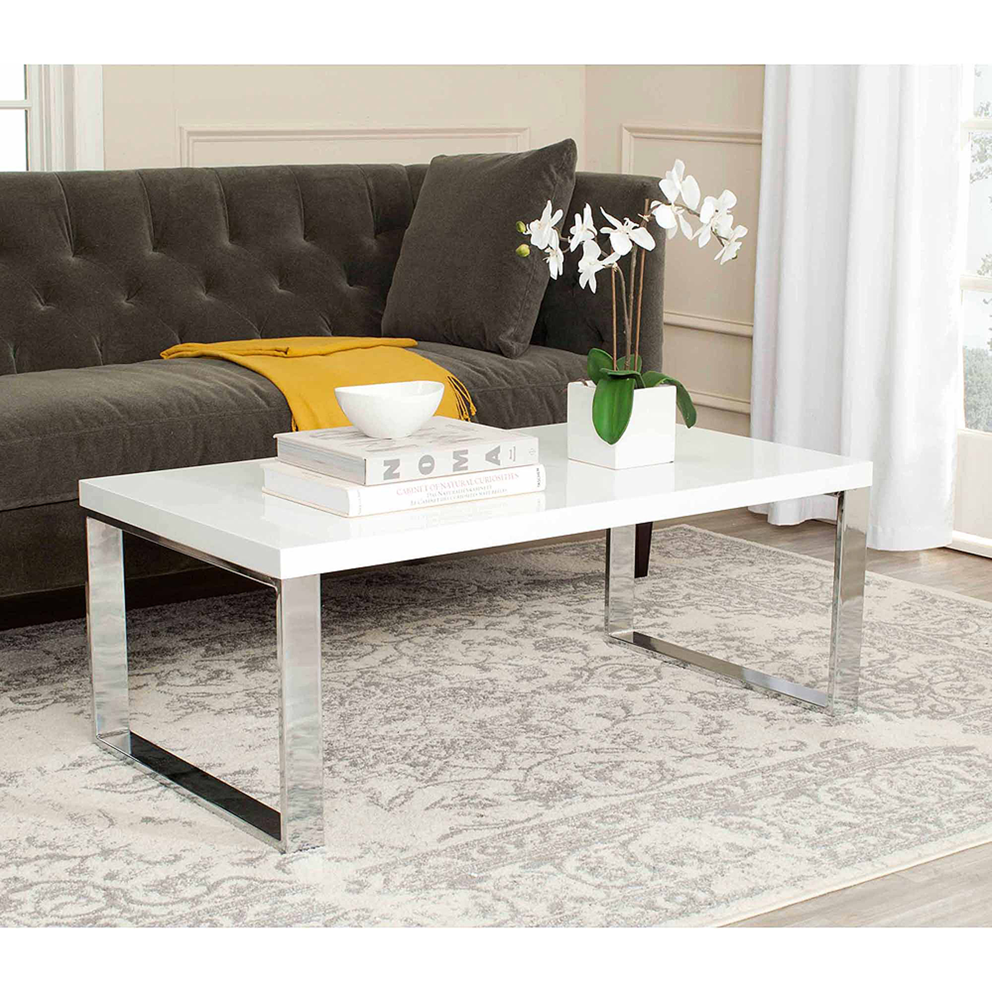Safavieh Rockford Coffee Table, White and Chrome