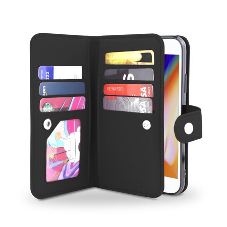 Gear Beast iPhone 8 / 7 Wallet Case, Flip Cover Dual Folio Case Slim Protective PU Leather Case 7 Slot Card Holder Including ID Holder Inner Pockets Wristlet For Men and Women Bonus Screen Protector