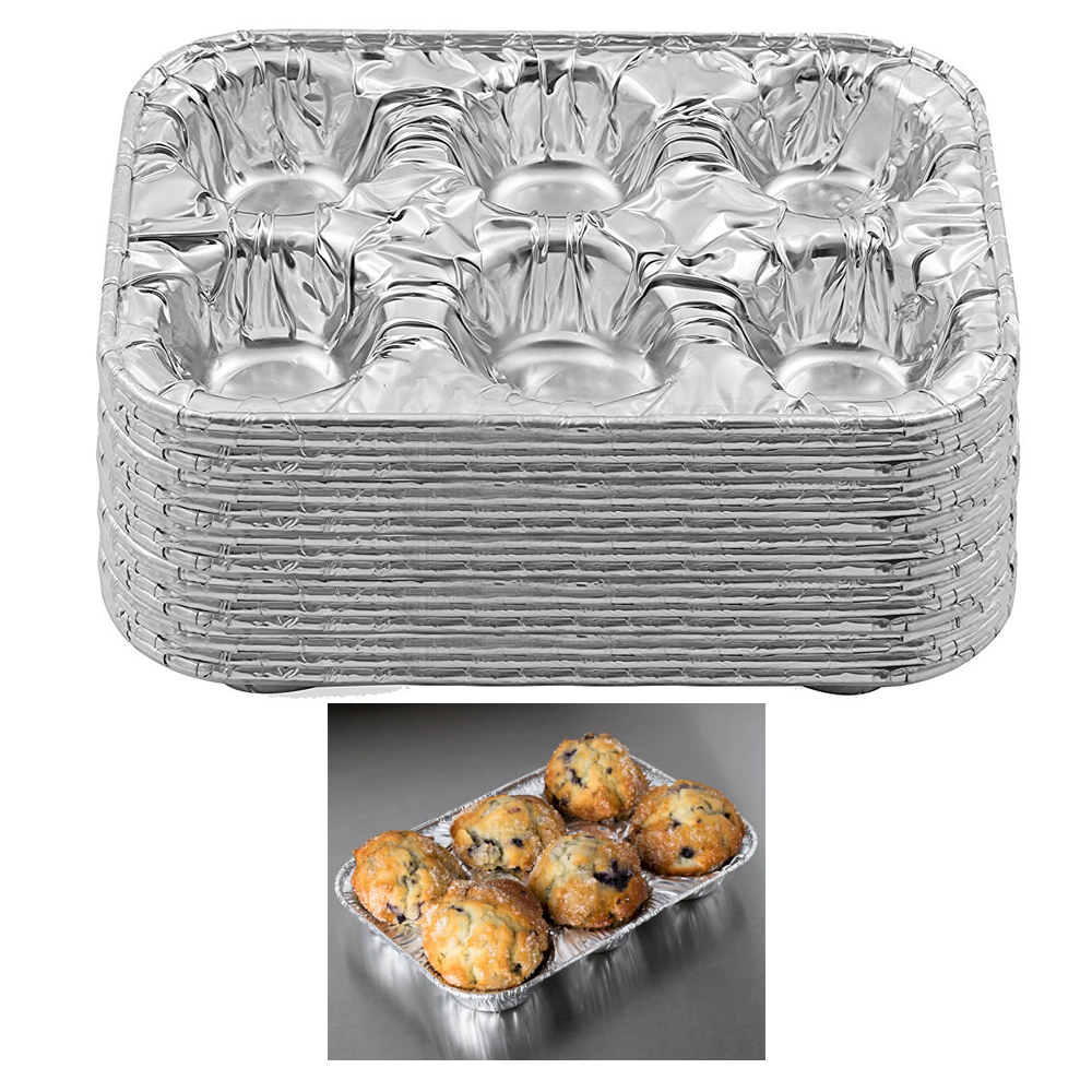 50 Pc Aluminum Foil Muffin Pan 6 Cavity Cake Mold Cupcake Disposable Container by JMK IIT