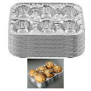 50 Pc Aluminum Foil Muffin Pan 6 Cavity Cake Mold Cupcake Disposable Container