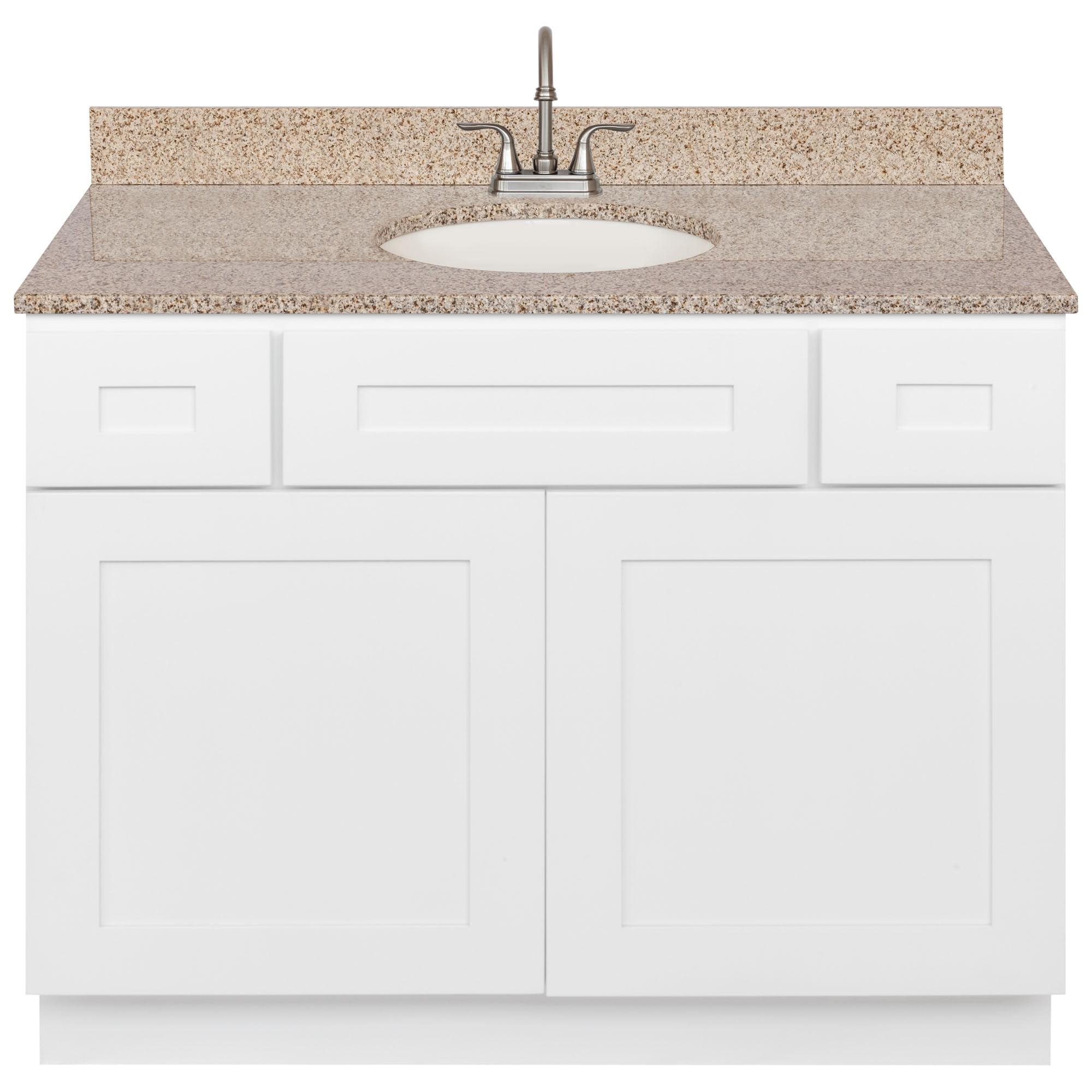 White Bathroom Vanity 42 Wheat Granite Top Faucet Lb6b Walmart Com Walmart Com