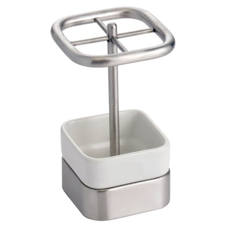 InterDesign Gia Toothbrush Holder Stand for Bathroom Vanity Countertops, White/Brushed