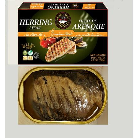 (3 Pack) Grilled Catch Herring steak fillet in olive oil 6.7 oz