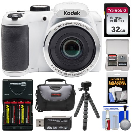 KODAK PIXPRO AZ252 Astro Zoom Digital Camera (White) with 32GB Card + Batteries + Charger + Case + Tripod Kit