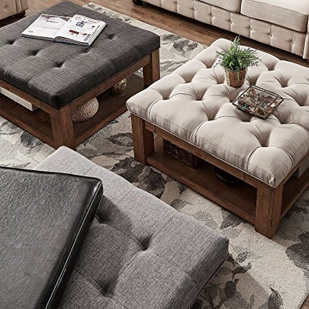 Inspire Q Lennon Pine Square Storage Ottoman Coffee Table By