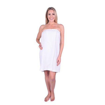 8f5b21f6611 Puffy Cotton - Puffy Cotton Waffle 100% Soft Cotton Shower Spa Towel Bath  Wrap with Adjustable Velcro for Women - White - Walmart.com