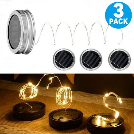 TSV 3-Pack Solar Mason Jar Light ,LED Solar Powered Glass Light, Decorative Outdoor Hanging Lamp ,String Fairy Lantern Warm White 10 LED for Party Garden Wedding (Yellow) (Jaw String)