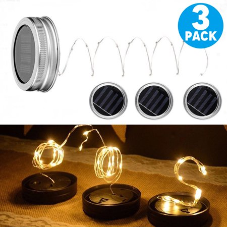 TSV Solar Mason Jar Lid Lights Waterproof, 3 Pack 10 Led String Fairy Star Firefly Jar Lids Lights for Christmas Halloween Party Wedding Deck Garden Decorative Lighting (Warm White)](Kmart Halloween Lights)