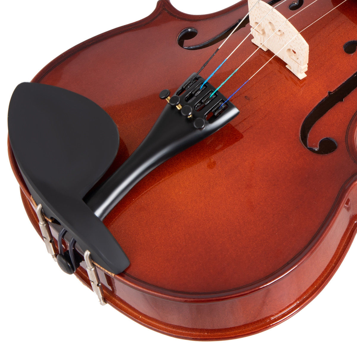 Full Size 4/4 Violin Solid Wood w/ Hard Case Bow Rosin Bridge Student Starter - image 4 de 10
