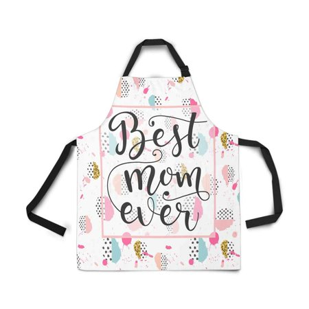 ASHLEIGH Memphis Pop Style Best Mom Ever Mothers Day Apron for Women Men Girls Chef with Pockets Kitchen Apron for Cooking Baking Gardening