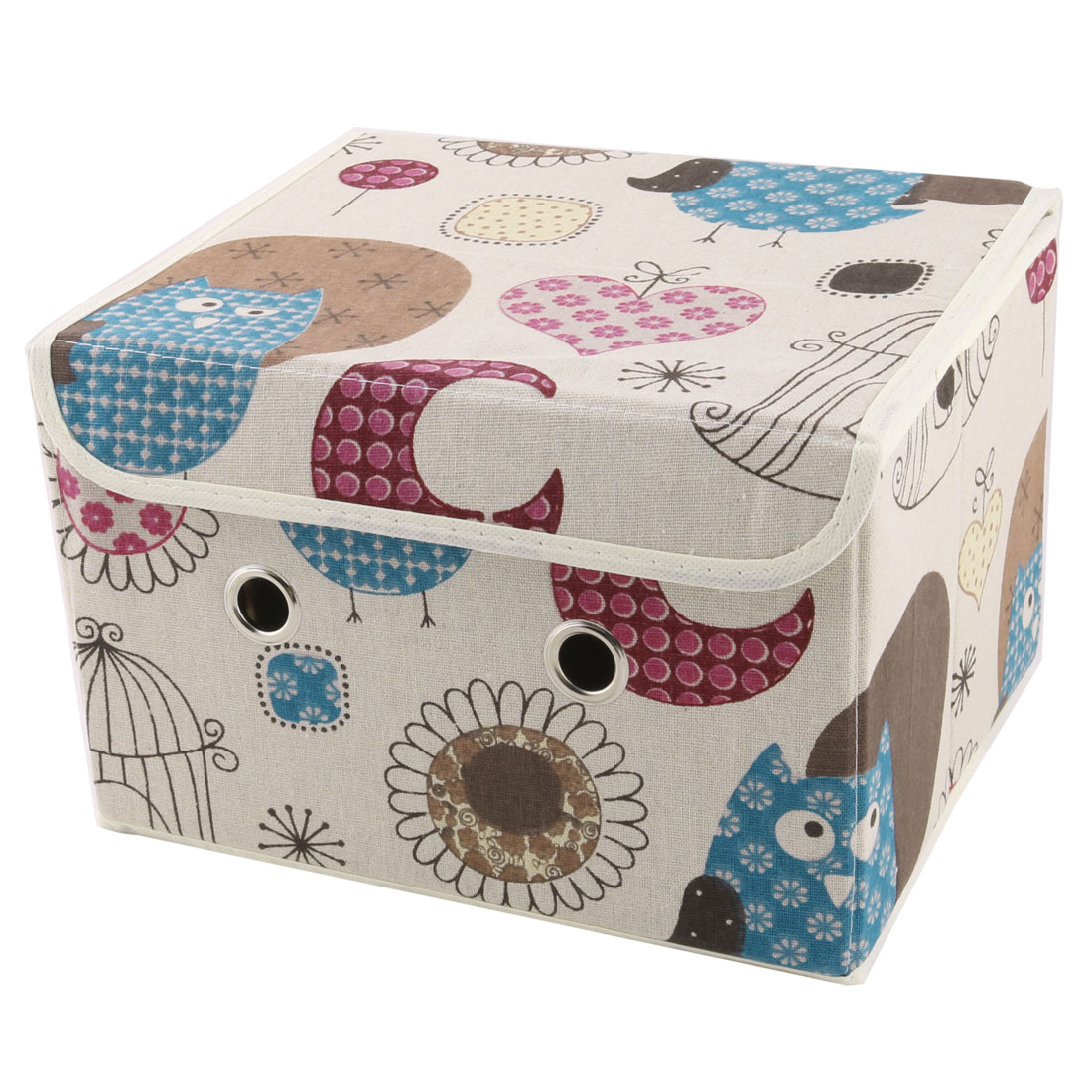 Home Bedroom Cotton Linen Owl Pattern Clothes Underwear Socks Storage Box Case