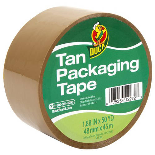 "Duck Brand Packaging Tape, 1.88"" x 50 yd, Standard, Tan"