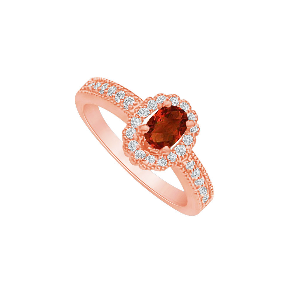 Garnet and CZ Halo Engagement Ring in 14K Rose Gold - image 2 of 2