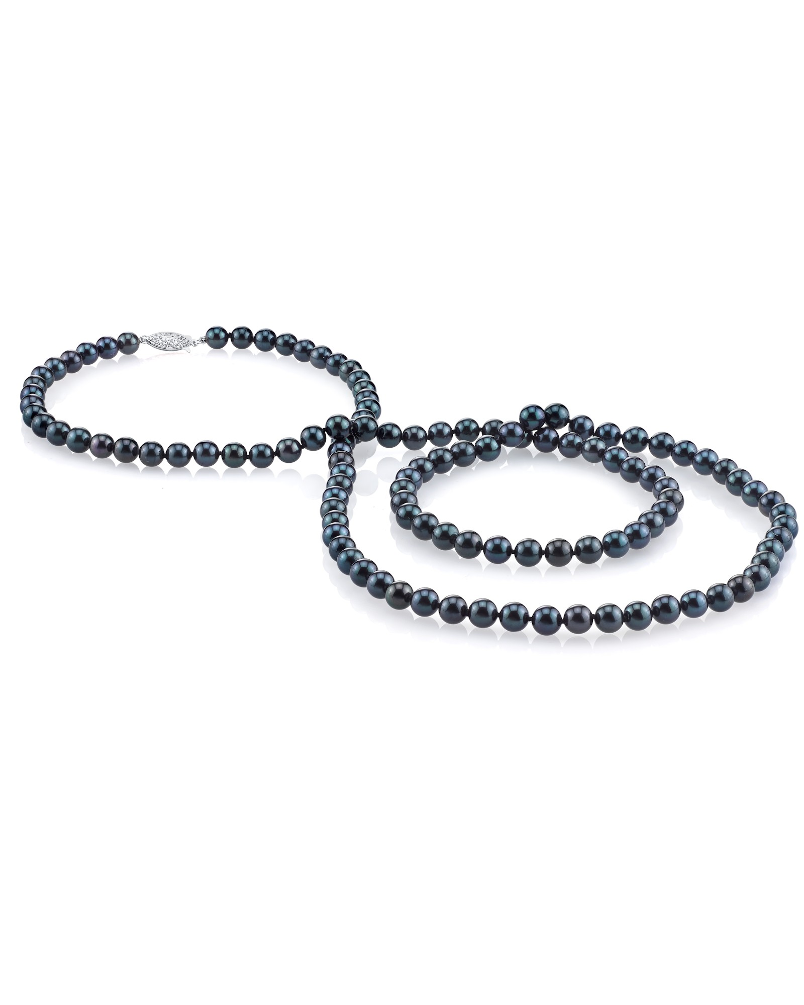 """14K Gold 6.5-7.0mm Black Akoya Cultured Pearl Necklace AA+ Quality, 36"""" Opera Length by The Pearl Source"""